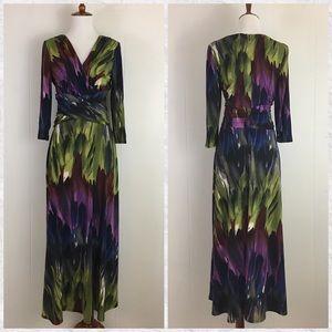 Clues New York Watercolor Tie Dye V-Neck Dress